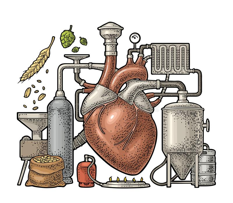 Brewery process on factory beer with tanks, burner, heart engraving. Brewery process on factory with tanks, ear, hops, burner. Heart in the center of the vector illustration