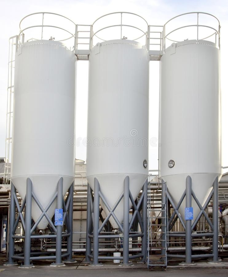 Brewery Tank Silos. Filled with craft brew stock photo