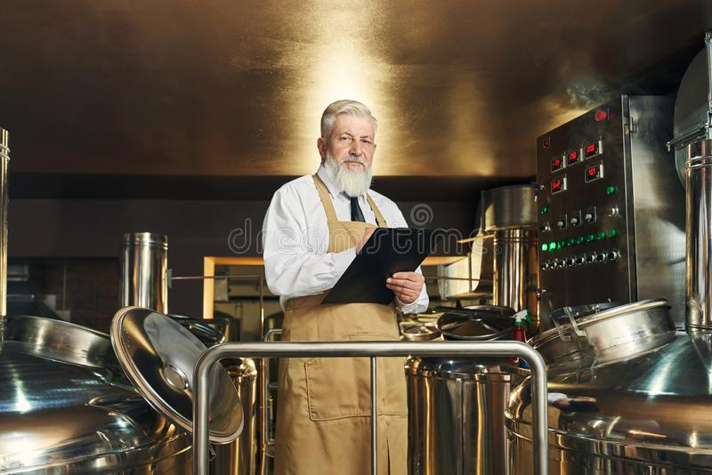 Brewery worker monitoring brewering process. Professional brewery worker monitoring process of brewing beer. Handsome, elderly, bearded worker wearing in apron royalty free stock image