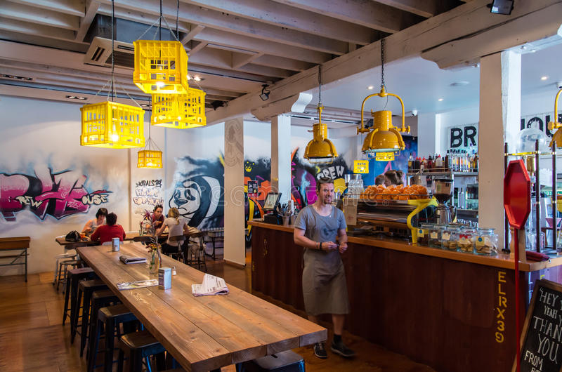 Brewhouse Coffee Roasters cafe in Bendigo Australia. Brewhouse Coffee Roasters is a fashionable cafe in Hargreaves Street, Bendigo, Australia. It has a funky royalty free stock photos