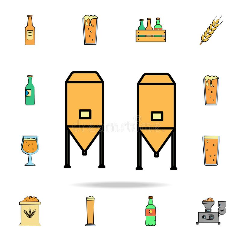Brewing vats colored sketch style icon. Detailed set of color beer in hand drawn style icons. Premium graphic design. One of the. Collection icons for websites vector illustration