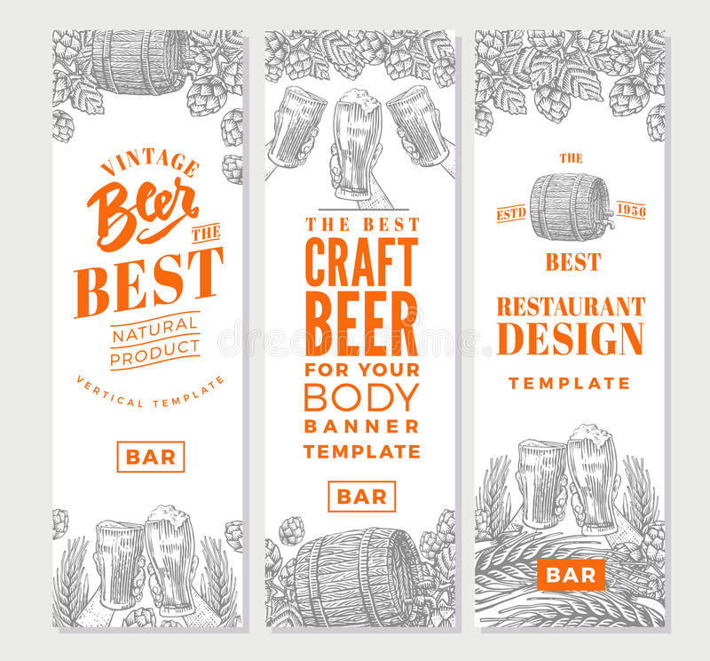 Brewing Vertical Banners vector illustration