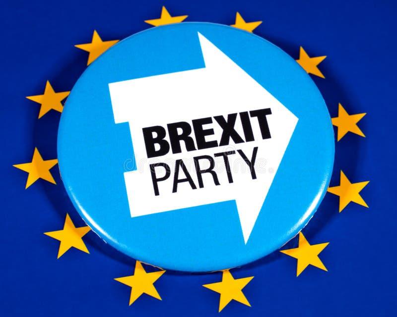 Brexit党商标和欧盟旗子 库存图片