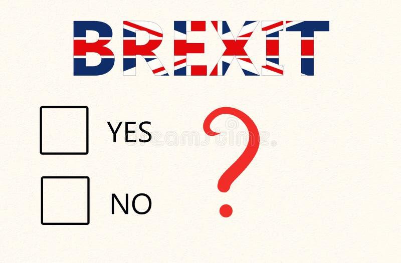 Brexit公民投票概念-与复选框的一张纸投赞成票还是反对票和在英国旗子的Brexit题字的 库存例证