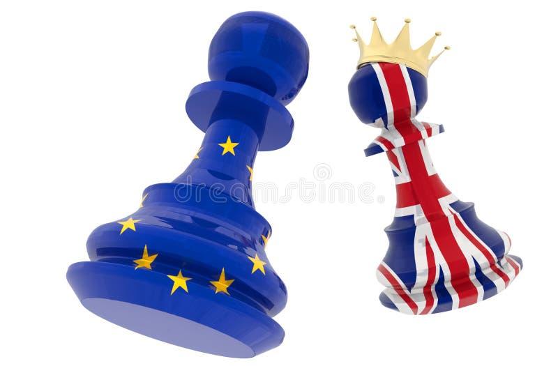 Brexit冲突eurepean联盟标志和英国英国旗子典当与冠- 3d翻译 库存例证