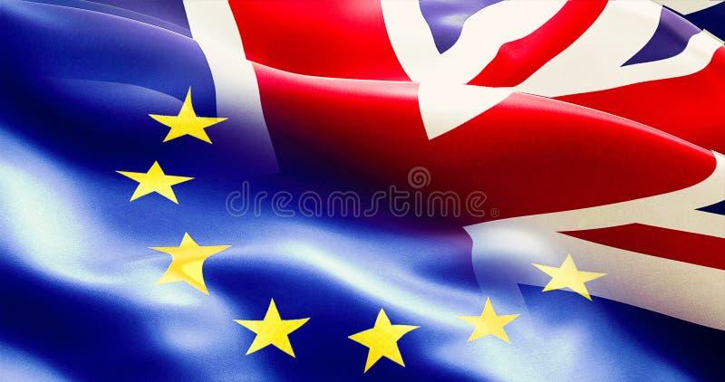 Brexit半欧盟和英国英国旗子 免版税图库摄影