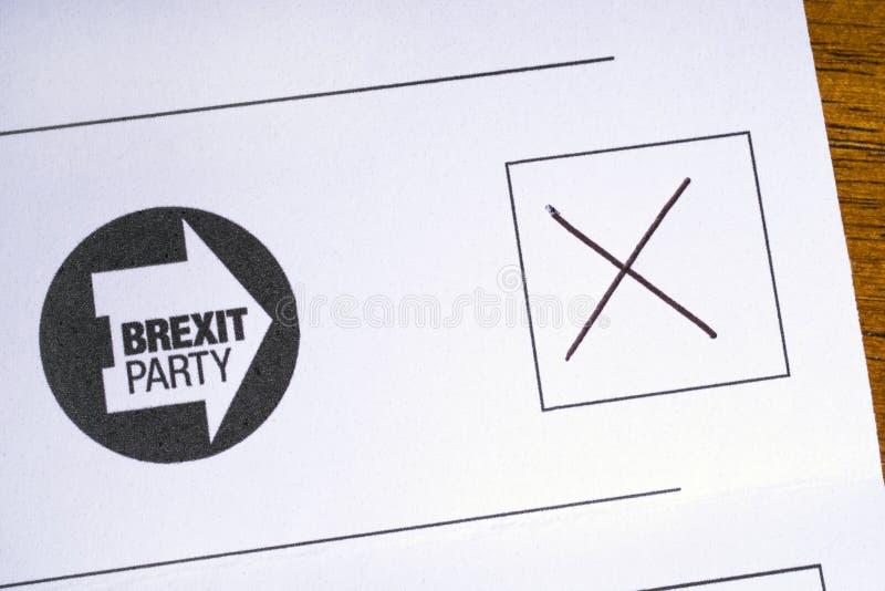 Brexit按照党之政策的投票 库存图片