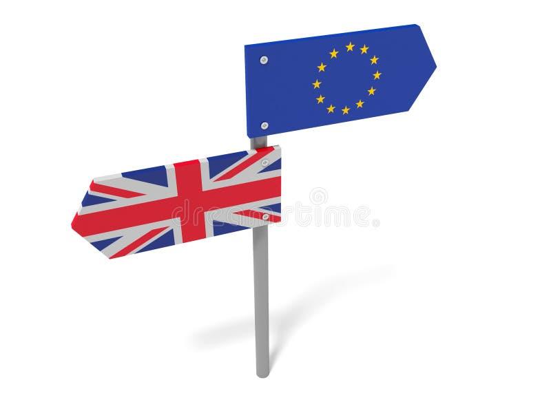 Brexit:英国和欧盟指向在反方向的路标 向量例证