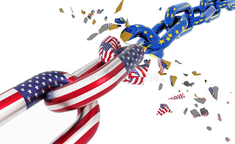 Brexit à volets cassé de chaîne d'Union européenne des Etats-Unis - rendu 3d illustration stock