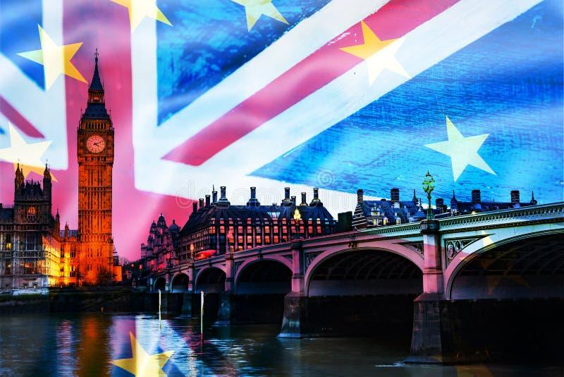 brexit έννοια - διπλή έκθεση των βρετανικών ορόσημων και της σημαίας στοκ εικόνες με δικαίωμα ελεύθερης χρήσης