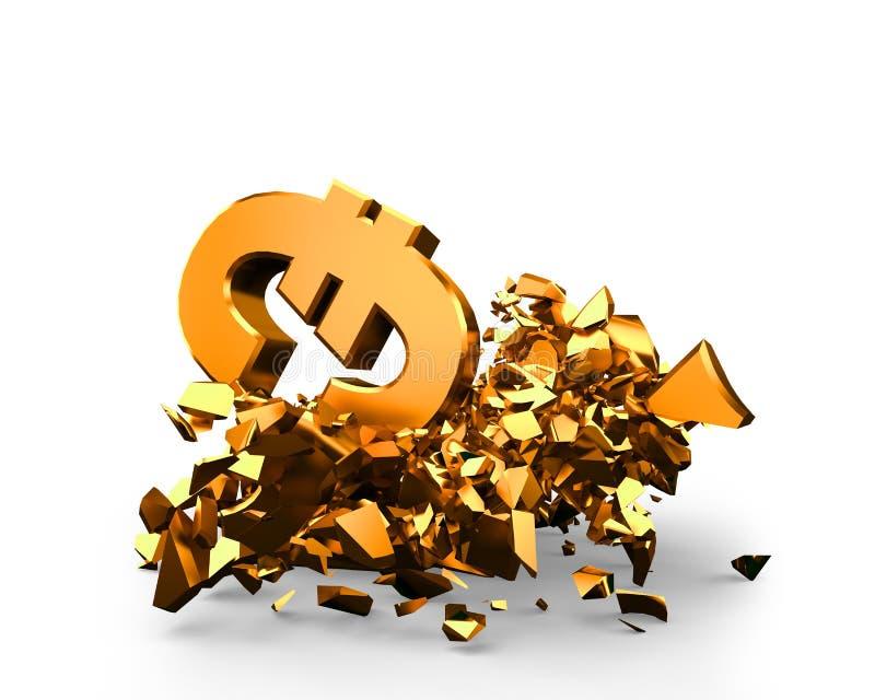 Brexit, λίβρα εναντίον ευρο-, χρυσή πάλη συμβόλων νομίσματος, τρισδιάστατη απεικόνιση απεικόνιση αποθεμάτων