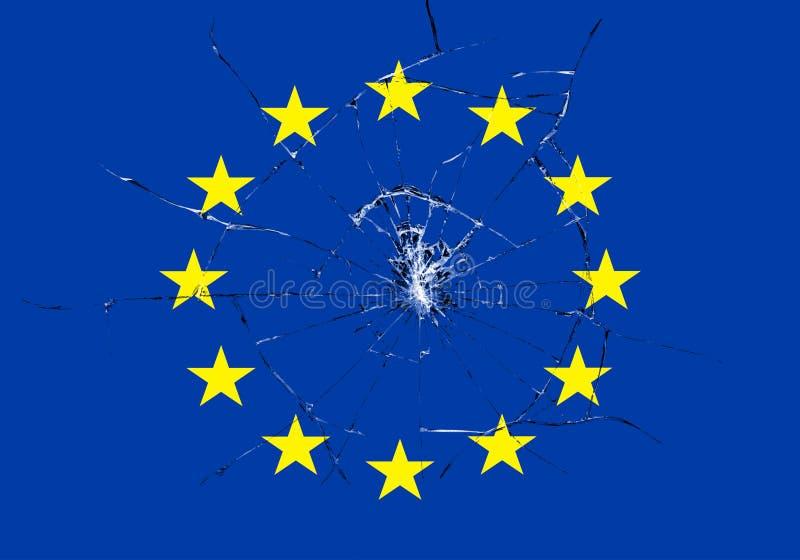 Brexit, сломанное стеклянное влияние на европейском флаге, кризис еврозоны schengen иллюстрация вектора