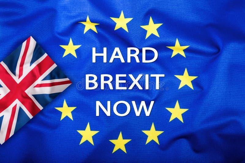 Brexit 是Brexit 没有的Brexit 英国和欧盟的旗子 英国旗子和欧盟旗子 英国标志插孔联盟 免版税库存图片