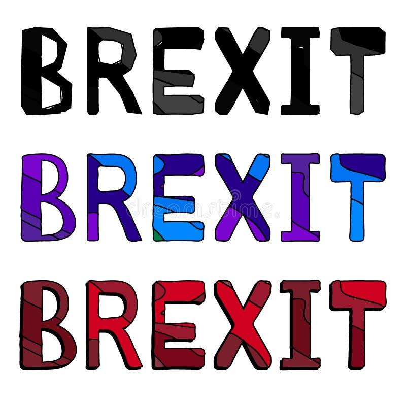 Brexit -题字 设置3在1,对比信件,孤立 库存例证