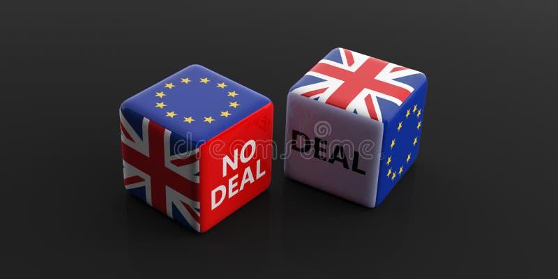 Brexit, Abkommen oder kein Abkommenkonzept Flaggen Vereinigten Königreichs und der Europäischen Gemeinschaft auf Würfeln Abbildun vektor abbildung