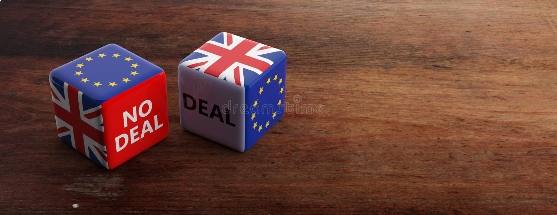 Brexit, Abkommen oder kein Abkommenkonzept Flaggen Vereinigten Königreichs und der Europäischen Gemeinschaft auf Würfeln, Fahne A vektor abbildung
