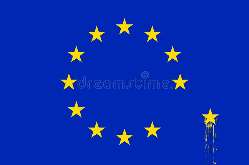 Brexit agreement concept. Modified European Council EUCO flag in blue yellow colors royalty free stock photo