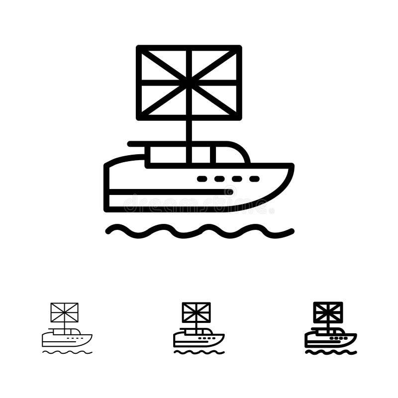 Brexit, Anglais, européen, royaume, ligne noire audacieuse et mince britannique ensemble d'icône illustration de vecteur
