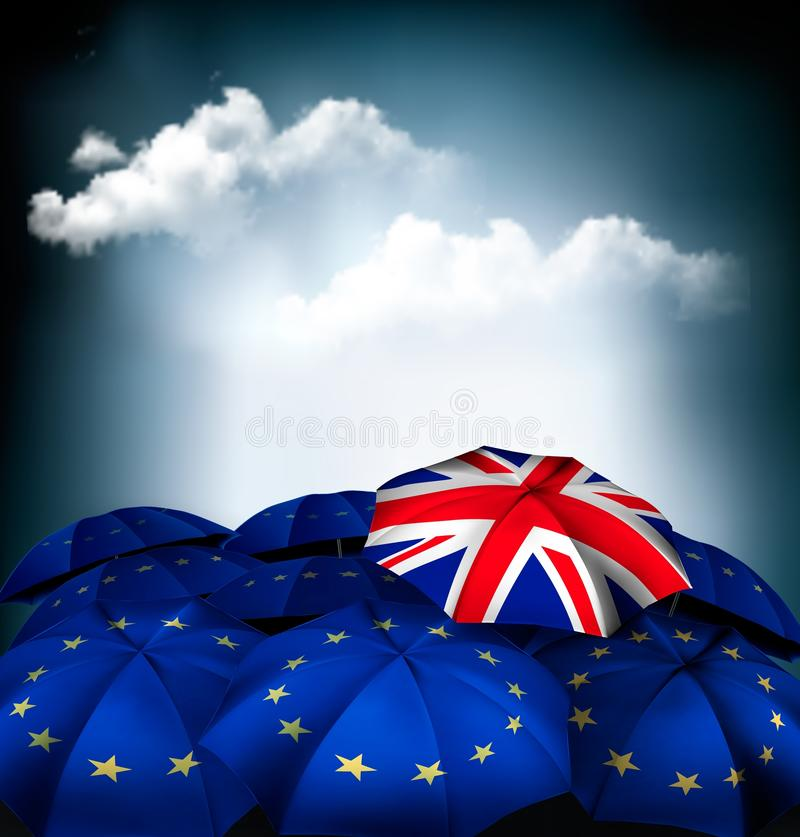 Brexit begrepp Paraply för facklig stålar mellan EU-paraplyer royaltyfri illustrationer
