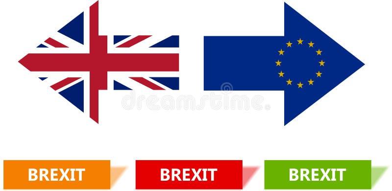 Brexit begreppsillustration Två pilar i den motsatta riktningar och fyrkanten, mall vektor illustrationer