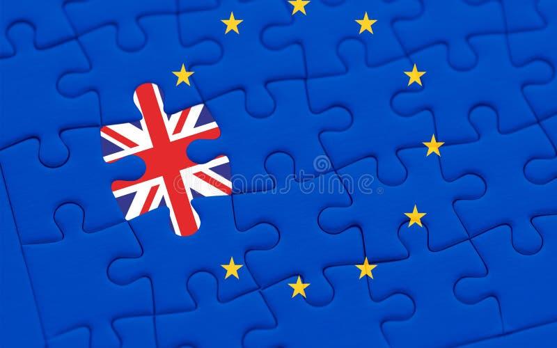 Brexit blauw Europese Unie de vlagraadsel van de EU met raadselstuk met de vlag van Groot-Brittannië royalty-vrije stock fotografie