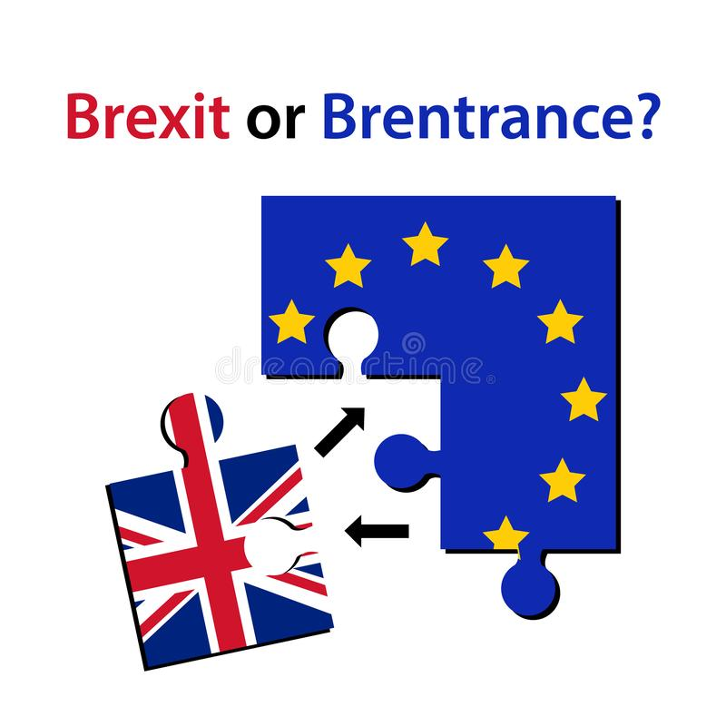 Brexit or Brentrance, Puzzle pieces with Europian union flag and one Puzzle Piece With Great Britain Flag with arrows in royalty free illustration