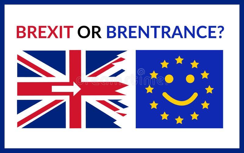 Brexit, Brentrance, Uśmiechnięta unii europejskiej flaga lub obszarpująca Wielka Brytania flaga z strzałami z powrotem, UE Pojęci ilustracji