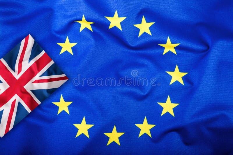 Brexit Brexit ja Brexit Nr Vlaggen van het Verenigd Koninkrijk en de Europese Unie Britse Vlag en de EU-Vlag De Britse vlag van U royalty-vrije stock foto's