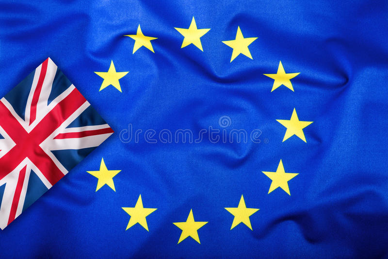 Brexit. Brexit Yes. Brexit No. Flags of the United Kingdom and the European Union. UK Flag and EU Flag. British Union Jack flag. royalty free stock photos