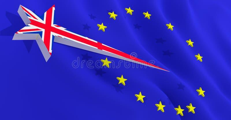 Brexit britse ster verlaat de vlag van de europese unie - 3d rendering vector illustratie