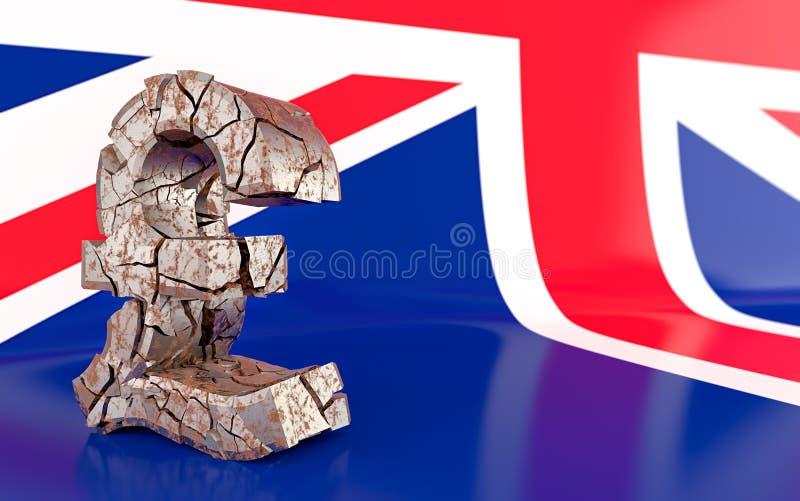 BREXIT - broken pound sign stock illustration
