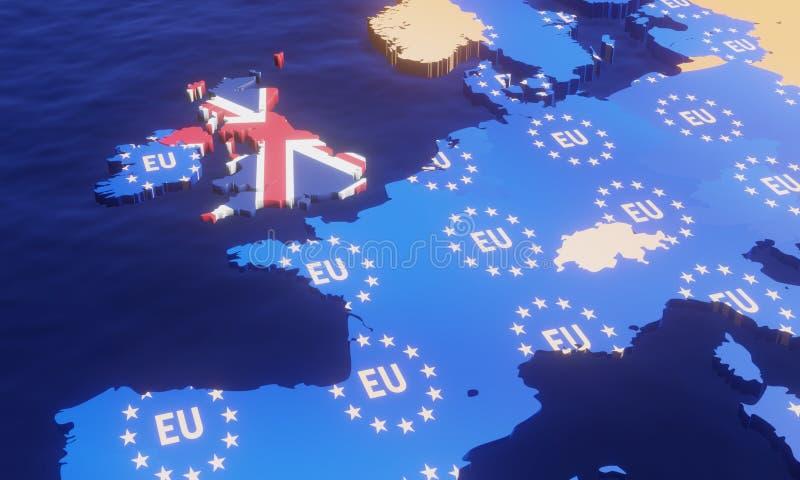 Brexit - carte d'UE de l'illustration 3D illustration de vecteur
