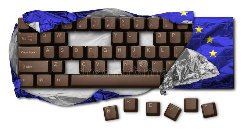 Brexit. Computer keyboard chocolate, without B, R, E, X, I and T keys, wrapped in blue aluminum foil. Hi Res image isolated on white. Brexit is the withdrawal of stock image