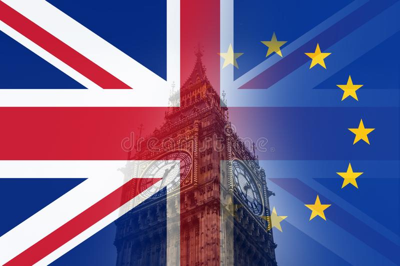 Brexit concept. Big Ben and the clock tower of the house of parliament. With the flags of the Union Jack and the E.U over layered stock photography