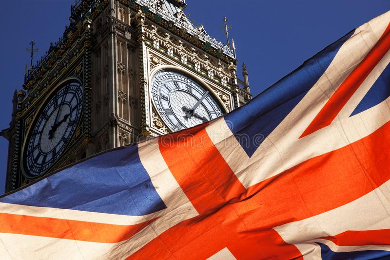 Brexit concept - double exposure of flag and Westminster Palace with Big Ben. Brexit concept -double exposure of flag and Westminster Palace with Big Ben stock photography