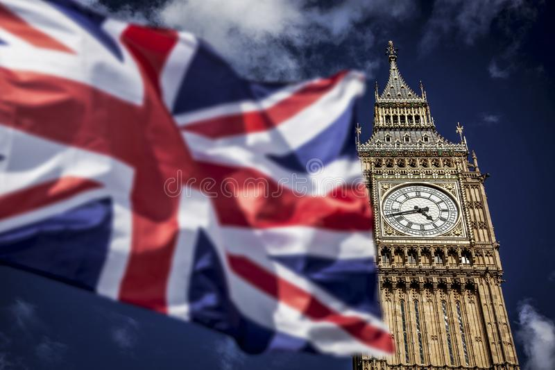 Brexit concept - double exposure of flag and Westminster Palace with Big Ben. Brexit concept- double exposure of flag and Westminster Palace with Big Ben royalty free stock photography