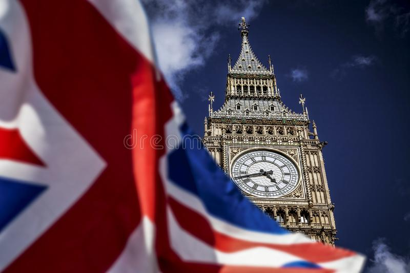 Brexit concept - double exposure of flag and Westminster Palace with Big Ben. Brexit concept double exposure of flag and Westminster Palace with Big Ben royalty free stock photos