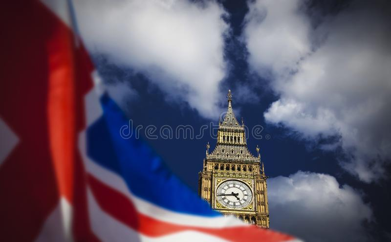 Brexit concept - double exposure of flag and Westminster Palace with Big Ben. Brexit concept -double exposure of flag and Westminster Palace with Big Ben stock image