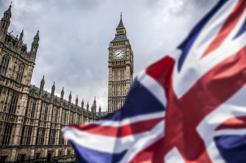 Brexit concept - double exposure of flag and Westminster Palace with Big Ben. Brexit concept -double exposure of flag and Westminster Palace with Big Ben royalty free stock photo