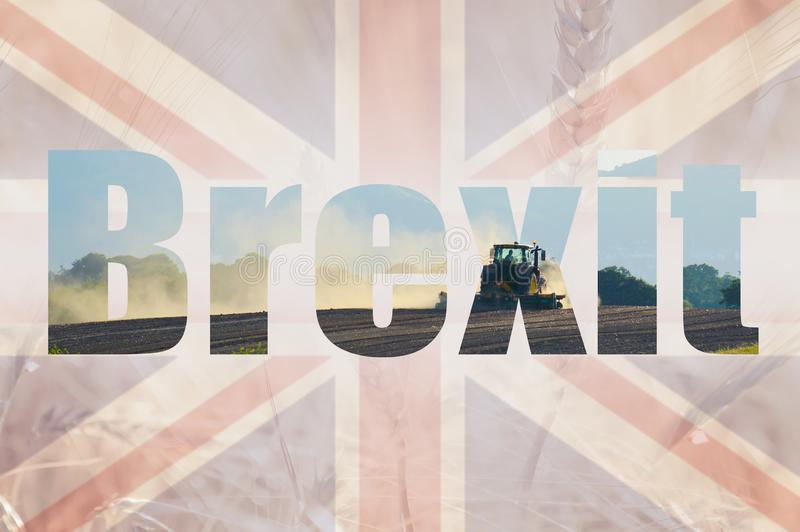 Brexit concept. Double exposure of the Union Jack flag and a field of wheat and barley with a tractor ploughing a field royalty free stock photos