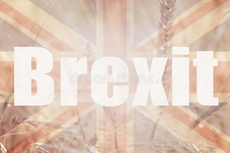 Brexit concept. Double exposure of the Union Jack flag and a field of wheat and barley with the Word Brexit overlayered on top royalty free stock photos