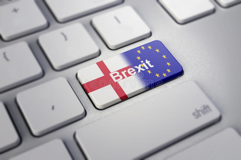 Brexit concept with england and EU flag on a computer keyboard vector illustration