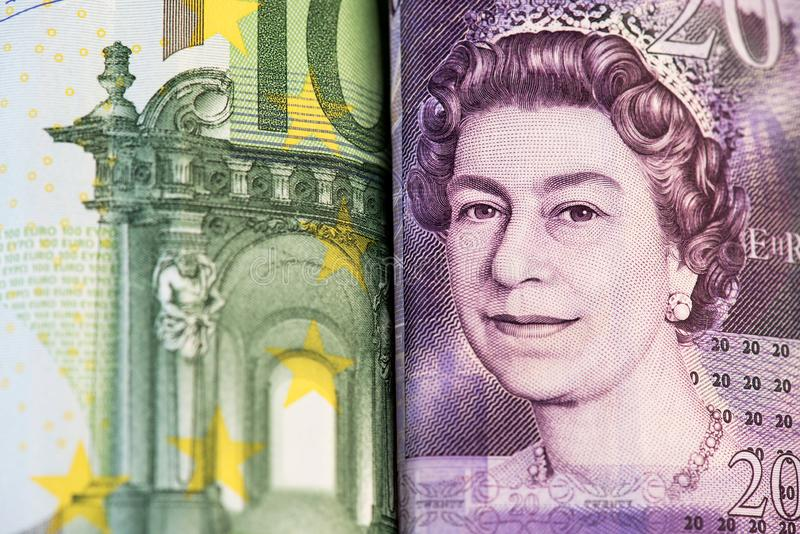 Brexit concept. EUR GBP Euro British Sterling Pound Europe UK Money. Brexit EURO vs British Pound  EUR vs GBP. United Kingdom Europe royalty free stock photography