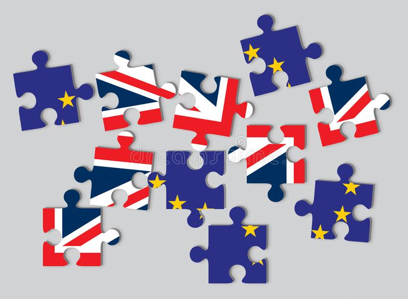 Brexit concept, flags of UK the United Kingdom and EU the European Union as scattered jigsaw puzzle pieces royalty free illustration