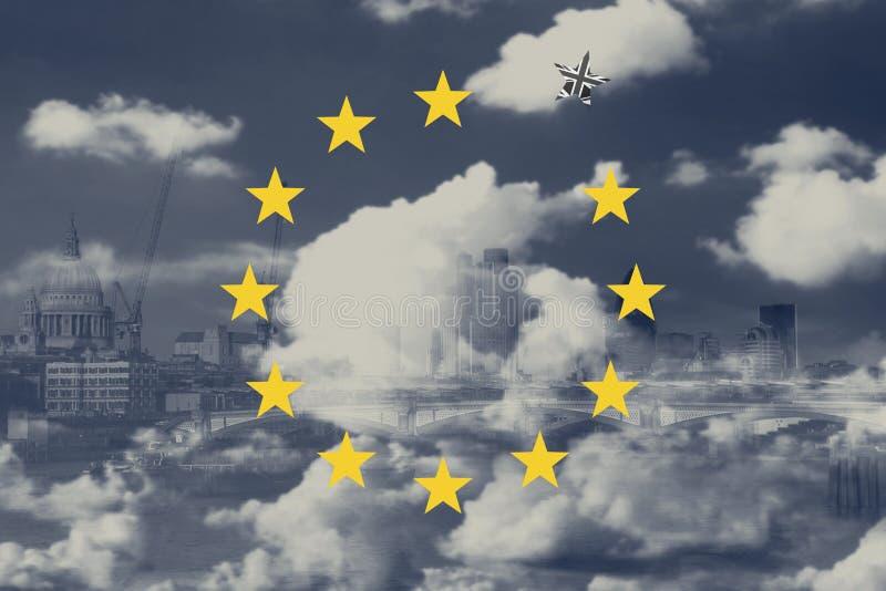 Brexit Concept Great Britain Departing European Uniun. EU Flag Against London City Background. Brexit Concept. Great Britain Departing European Uniun. EU Flag stock illustration