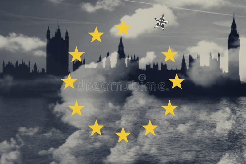 Brexit Concept Great Britain Departing European Uniun. EU Flag Against London City Background. Brexit Concept. Great Britain Departing European Uniun. EU Flag vector illustration