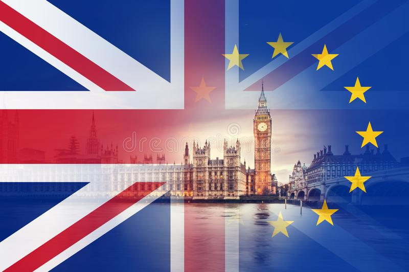 Brexit concept. The Houses of parliament. With the flags of the Union Jack and the E.U over layered on top royalty free stock images