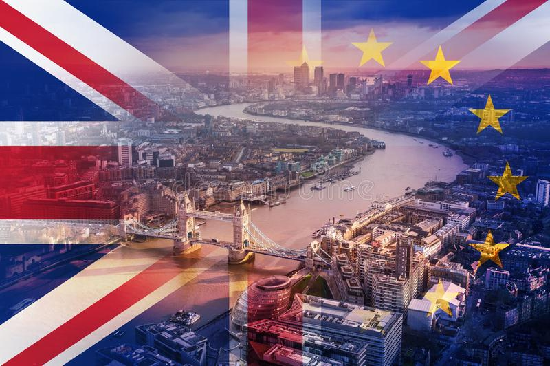 Brexit concept. Looking down on London, River Thames and the city. With the flags of the Union Jack and the E.U over layered on to stock illustration