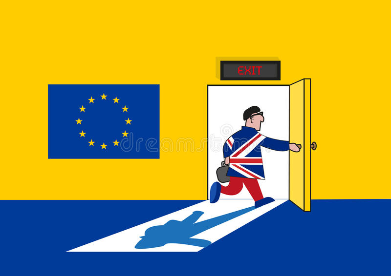 Brexit Concept. Man in British Suit goes out from a European Union Room. Editable Clip art. royalty free illustration