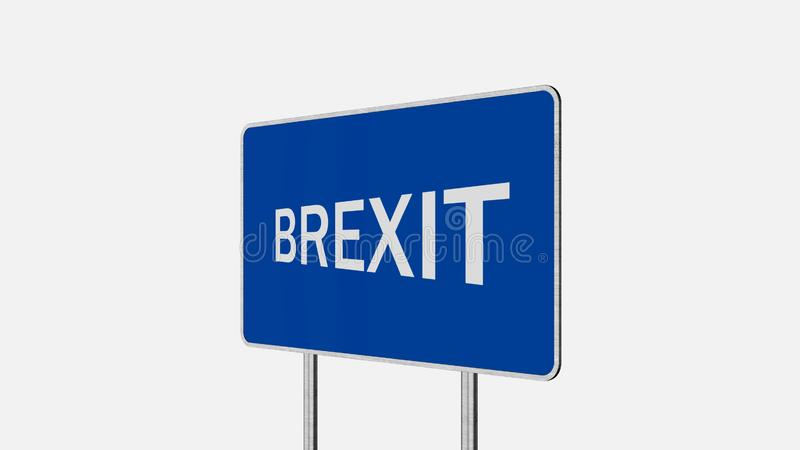 Brexit Concept Road Sign Depicting Great Britain Departing European Uniun. Brexit Concept. Road Sign Depicting Great Britain Departing European Uniun royalty free illustration